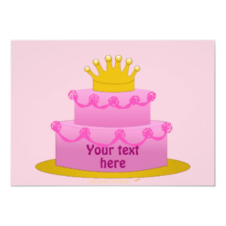 Pink Cake With Crown Birthday Invites