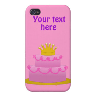 Pink Cake With Crown Birthday iPhone 4/4S Covers