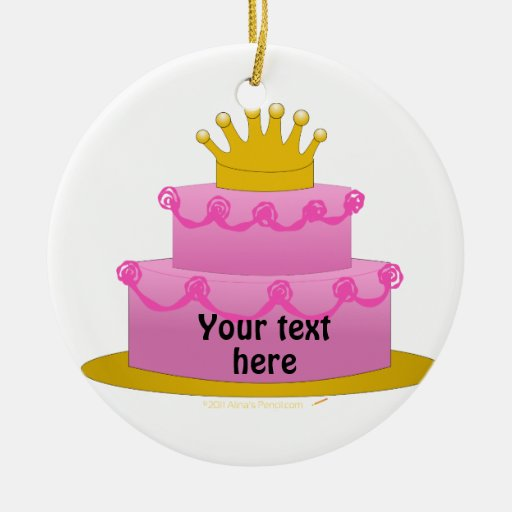 Pink Cake With Crown Birthday Double-Sided Ceramic Round Christmas Ornament