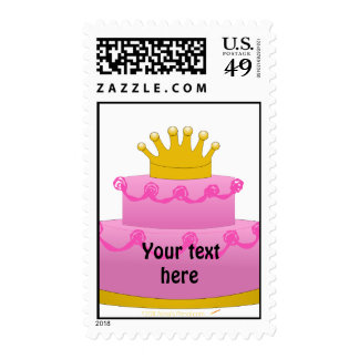 Pink Cake With Crown Birthday Stamps