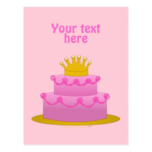 Pink Cake With Crown Birthday Postcard
