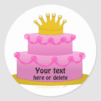 Pink Cake With Crown Birthday Stickers