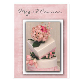 Pink Cake with flowers Postcard