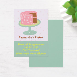 Pink Cake with Polka Dots Business Card