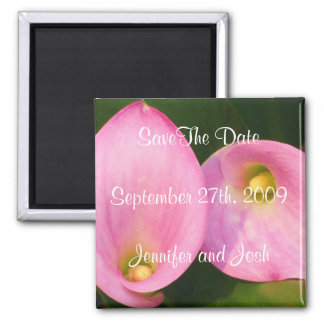 Pink Cala Lilies 2 Inch Square Magnet