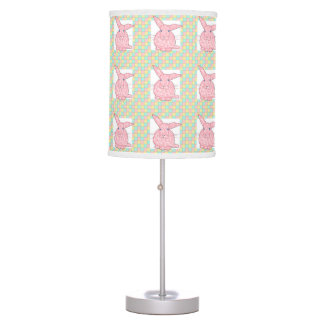 Pink Calico Bunny  Pink Yellow Green Checkerboard Desk Lamp