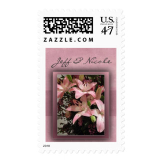 Pink Calla Lilies Newlywed Postage STamps