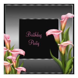 Pink Calla Lily Black Birthday Party Invitation