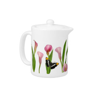 Pink Calla Lily Butterfly Teapot