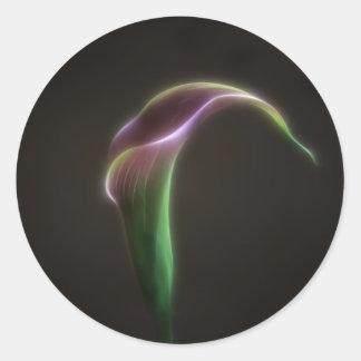Pink calla lily classic round sticker
