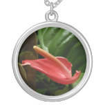 Pink Calla Lily Elegant Floral Photography Silver Plated Necklace