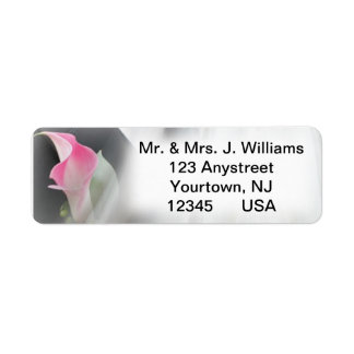 Pink Calla Lily Flourish Frame Address Label