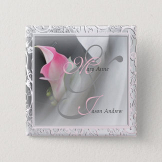 Pink Calla Lily Flourish Frame Button