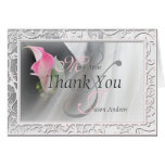 Pink Calla Lily Flourish Frame Thank You Note Card