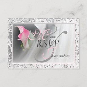 Pink Calla Lily Flourish Frame Wedding RSVP