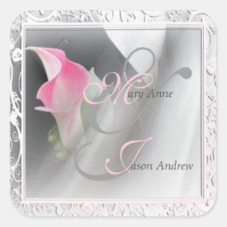 Pink Calla Lily Flourish Frame Wedding Sticker