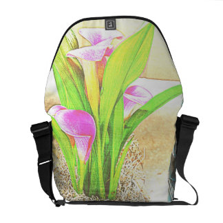 Pink Calla Lily Flowers Courier Bag