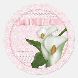 Pink Calla Lily Round Sticker