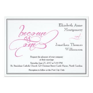 Pink Calligraphy Christian Wedding Invitation