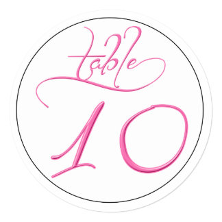 Pink Calligraphy Script Round Table Number 10 Card