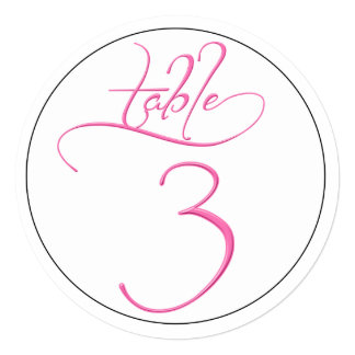Pink Calligraphy Script Round Table Number 3 Card