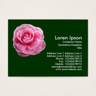Pink Camelia 2 - Dark Green Business Card