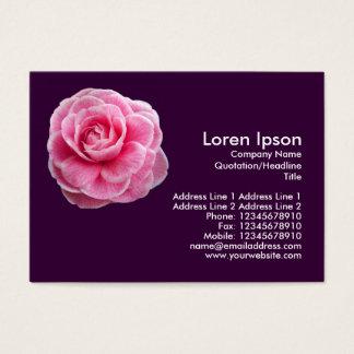 Pink Camelia 2 - Dark Purple Business Card