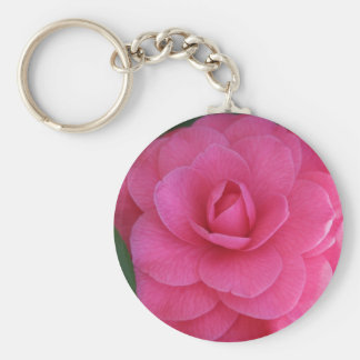 Pink Camelia Basic Round Button Keychain