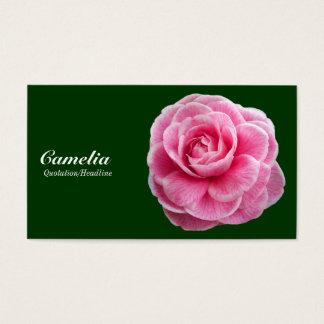 Pink Camelia - Dark Green 003300 Business Card
