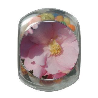 Pink Camelia Glass Candy Jars