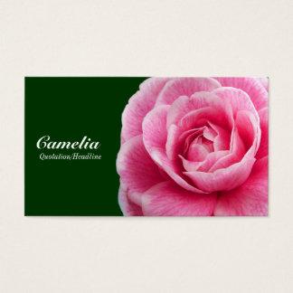 Pink Camelia II - Dark Green 003300 Business Card
