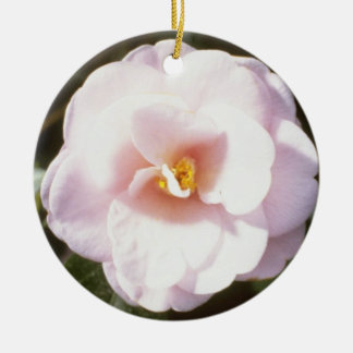 Pink Camelia Japonica 'Fleur De Pecher' (Japanese Double-Sided Ceramic Round Christmas Ornament