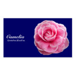 Pink Camelia - Navy Blue 000066 Double-Sided Standard Business Cards (Pack Of 100)