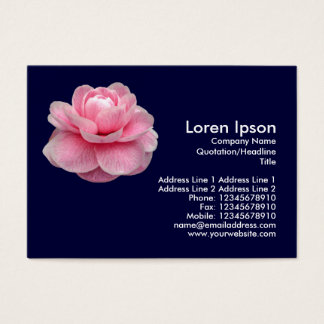 Pink Camelia - Navy Blue Business Card