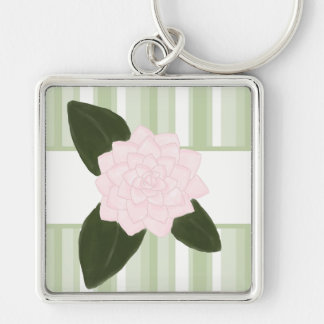 Pink Camellia and Green Stripes Keychain