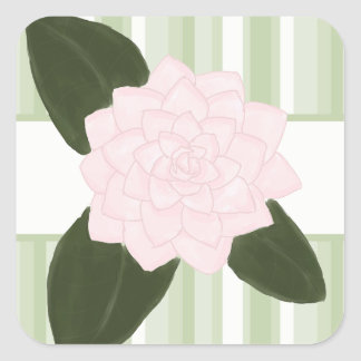 Pink Camellia and Green Stripes Stickers