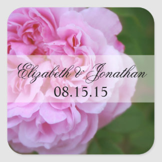 Pink Camellia and Ribbon Save the Date Square Sticker