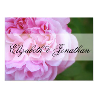 Pink Camellia and Ribbon Wedding Invite