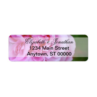 Pink Camellia and Ribbon Wedding Label