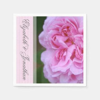 Pink Camellia and Ribbon Wedding Disposable Napkins