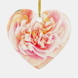 Pink Camellia Dream Oranament heart Ceramic Ornament