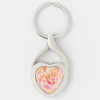 Pink Camellia Dream  Twisted Heart Metal Keychain