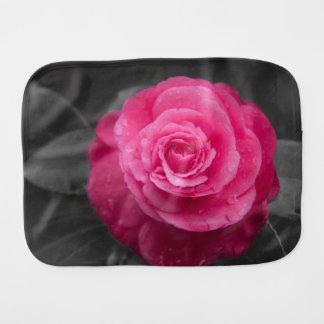 Pink Camellia Flower Baby Burp Cloth