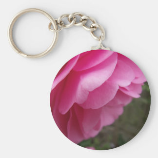 Pink Camellia Flower From Side Keychain
