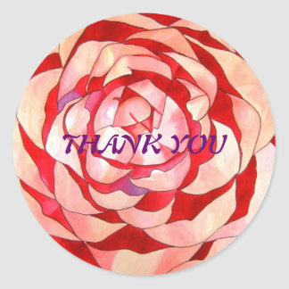 Pink Camellia flower Thank You sticker