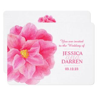Pink camellia flower watercolor wedding invite