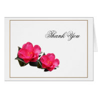 pink camellia flowers, thank you note card. card
