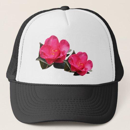 pink camellia flowers trucker hat