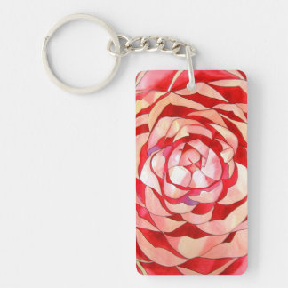 Pink Camellia macro flower Keychain