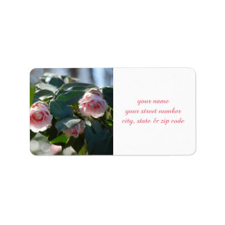 Pink Camellia Photo Address Label